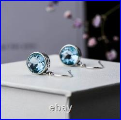 3 Carat Bezel Set Solitaire Aquamarine Drop Dangle Earrings 14K White Gold Over