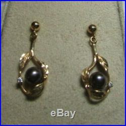 3 Pc MAUI DIVERS HAWAII 14K Yellow Gold Tahitian Pearl withDiamond Jewelry Set