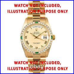 36mm 1ct Bead Set Diamond Bezel 18ky For Rolex Datejust, President With Emeralds