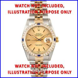 36mm 1ct Bead Set Diamond Bezel 18ky For Rolex Datejust, President With Sapphire