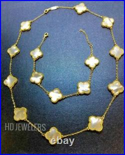 3P White Mother Of Pearl Jewelry Set Four Leaf Clover Flower Gold Motif Design