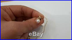 585 Gold Set Mit Perlen Diamant Kette Ohrstecker Anhänger Schmuckset