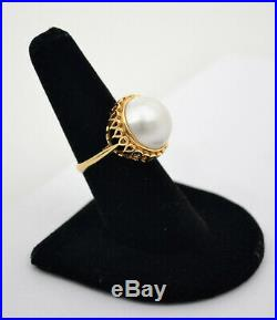 #8616 Classy 14k Gold Large Mabe Pearl Ornate Setting Ring Sz 6.75