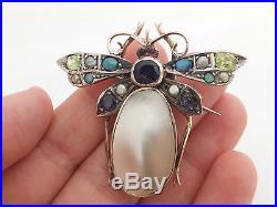 9ct/9k gold gem set, seed Pearl & large baroque Pearl Victorian bug brooch, 375