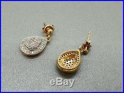 9ct 9k yellow gold pave set 0.50ct real diamond dangle drop stud Earrings boxed