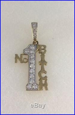 9ct Gold Cubic Zirconia Set No1 BITCH Pendant 4cm Drop Inc Bale 3g NEW
