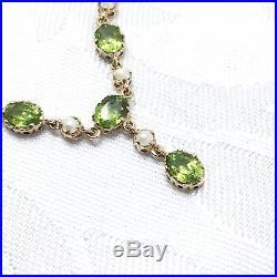9ct Peridot Split Pearl Necklace Fancy Settings Quality London HMK 17