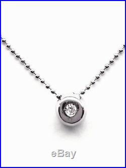 9ct White Gold Bead Chain Necklace with Diamond Set Pendant