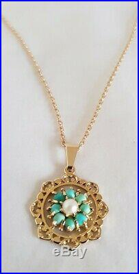 9ct Yellow gold pendant & chain. Set with a cultured pearl & Turquoise cabochons