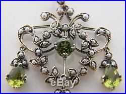9k Solid Gold Peridot & Seed Pearl Set Lavalier Pendant
