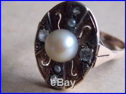 A Fine Vintage 14 ct Gold Pearl and Diamond set Ring