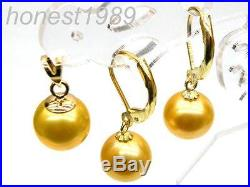 AAA+++ 9mm perfect round golden yellow south sea pearl earring pendant 14KT SET