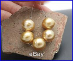 AMAZING NEW AA+ RARE SOUTH SEA PHILIPPINES DEEP GOLD 10.6-10.7mm 5pc PEARL SET