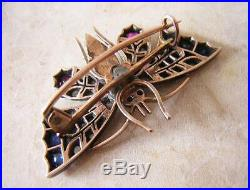 ANTIQUE GOLD BUTTERFLY BROOCH PIN set with DIAMONDS PEARLS RUBIES & SAPPHIRES