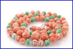 Angel Skin Coral & Jade Carved Shou Dragon Bead Set Necklace & Earrings 14K Gold