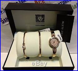 Anne Klein Ladies Rose Gold Swarvovski Mother of Pearl Watch Set AK/2260RGST