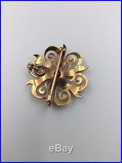 Antique 14K Yellow Gold Seed Pearl Convertible Starburst Pin/Pendant with Pink Set