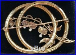 Antique 14k Yellow Gold Pearl Enamel Bleeding Hearts Brooch Pin & Earrings Set