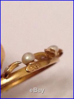 Antique 15ct White Enamel Bow Pendant Set Tourmaline, Rose Diamonds, Seed Pearls