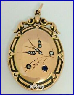 Antique 9 Carat Rose Gold Swallow Love Bird Locket Set Seed Pearls Circa 1910
