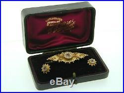 Antique 9ct gold Garnet Pearl Locket Back Brooch Earrings Set original box 1901