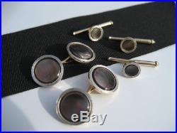 Antique Art Deco LARTER & SONS 14K Gold MOP Grey Pearl Cufflinks Stud Formal Set