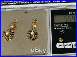 Antique Beautiful 14k Yellow Gold Dangle Pearl & Turquoise Earrings Claw Setting