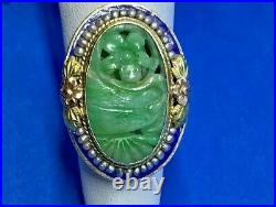 Antique Carved Jade with Pearl Halo & Blue Enamel in 14K Gold Setting Ring Size 6