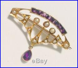 Antique, Edwardian 15ct Gold Brooch, Set With Seed Pearls And Amethysts