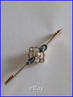 Antique Edwardian 15ct Gold & Platinum Aquamarine, Diamond & Pearl Set Brooch