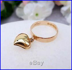 Antique Edwardian 1911 9ct Gold Band Ring with Pearl Set Heart Charm / Size N