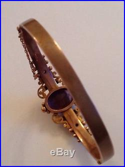 Antique Edwardian 9ct Gold Amethyst & Seed Pearl Set Hinged Bangle
