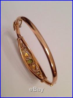 Antique Edwardian 9ct Gold Peridot & Seed Pearl Set Hinged Bangle