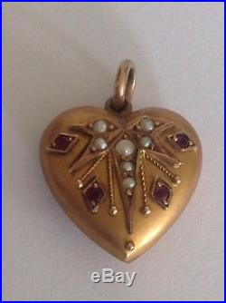 Antique Edwardian 9ct Gold Puffy Heart Pendant Set Rubies & Seed Pearls