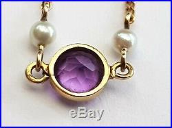 Antique-Edwardian-Superb 9ct Gold/Amethyst/Pearl Set Dainty Bracelet-circa 1905