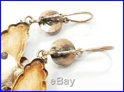 Antique Edwardian Victorian 14k 15k Rose Gold Detailed Blue Leaf Pearl Earrings