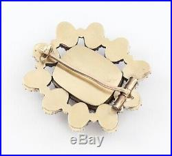 Antique Georgian 9Ct Gold Mourning Brooch, Foil Set Flat Cut Garnet And Pearl