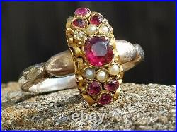 Antique-Georgian-Ornate 15ct Gold/Ruby/Pearl Set Silver Gilt Band Ring-c1830's
