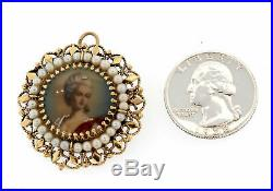 Antique Georgian Portrait in Solid 14K Gold & Pearl Cameo Setting Brooch Pendant