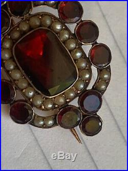 Antique Georgian Rose Gold Colour Pinchbeck Brooch Pin Set Garnets & Seed Pearls