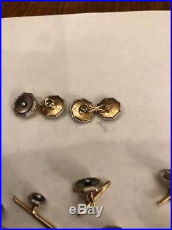 Antique LARTER Art Deco MOP Pearl 10K Gold Men's Shirt Vest Stud Set Cufflinks 9