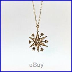 Antique Pearl set Gold Star Pendant Edwardian necklace
