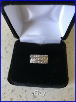 Antique Unique 3 Row Bead Set Diamond 14 Karat White Gold Ring 7
