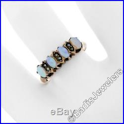 Antique Victorian 10K Rose Gold Alternating Prong Set Oval Opal Pearl Band Ring