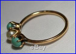 Antique Victorian 10k Gold Double Pearl & Turquoise Claw Set Ring Free Ship