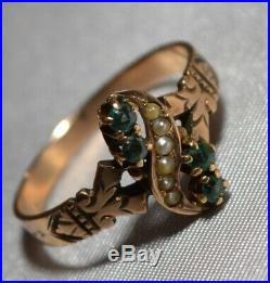 Antique Victorian 10k Gold Pearl & Green Stone Claw Set Ring Free S/H