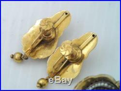 Antique Victorian 14k Gold Rose Cut Garnet & Seed Pearl Pin & Earrings Set