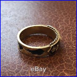 Antique Victorian 15 Karat Gold and Black Enamel Pearl Set Mourning Ring