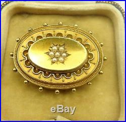 Antique Victorian 15 carat yellow gold seed pearl set locket back brooch