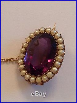 Antique Victorian 15ct Gold Amethyst & Seed Pearl Set Lace Brooch